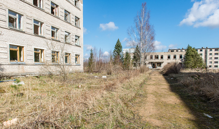 Abandoned ruins of military settlement. City of Skrunda in Latvia