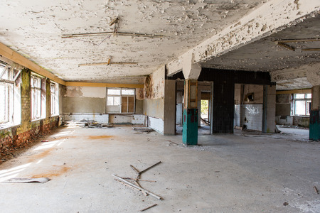 Abandoned interior in ruins of military settlement. City of Skrunda in Latvia Stock Photo