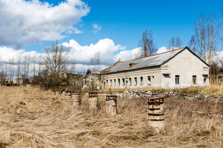 abandon: Abandoned ruins of military settlement. City of Skrunda in Latvia
