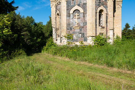 old abandoned church in estonia in summer day Stock Photo