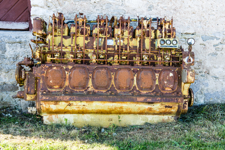 inoperative: an old outdated diesel engine with gauges Stock Photo