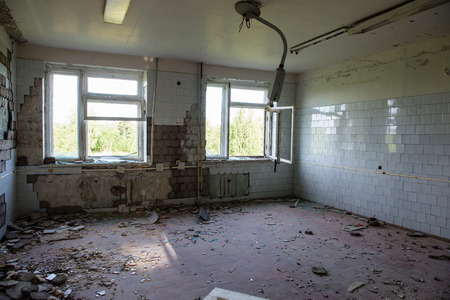 infirmary: interior of an old abandoned soviet hospital in military town of  skrunda, latvia