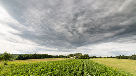 Cultivated field in bright spring day in countryside under dramatic sky Stock Photo