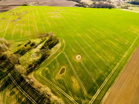 drone image. aerial view of rural area with freshly cultivated fields in sunny spring day. latvia