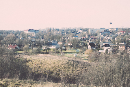 small town panoramic view from above. latvia. saldus - retro, vintage style look Stok Fotoğraf