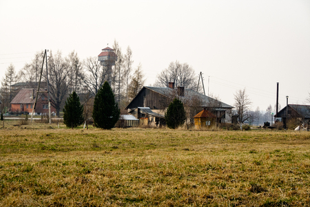 cultivated: endless fields in spring with brown old grass
