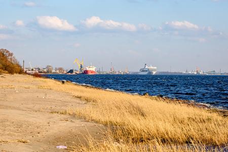 white sea ferry leaving the port of Riga in Latvia Reklamní fotografie