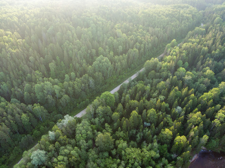 even: drone image. aerial view of rural area with forest river in summer morning Stock Photo