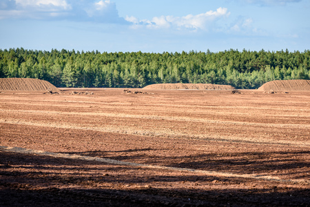 bog and the field on which the production is carried out in black peat mining, industry, with machinery