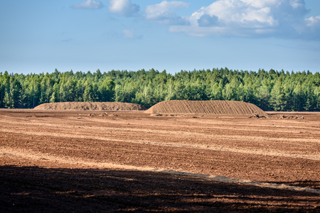 bog and the field on which the production is carried out in black peat mining, industry, with machinery Reklamní fotografie - 82071101