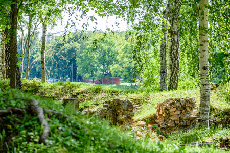 old stone castle ruins in Koknese, Latvia. hot summer day