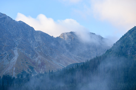 western carpathian mountain tops in  autumn covered in mist or clouds