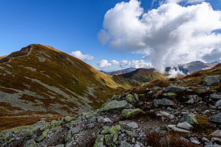 slovakian carpathian mountains in autumn. nice day for hiking. view from above the clouds Stock Photo