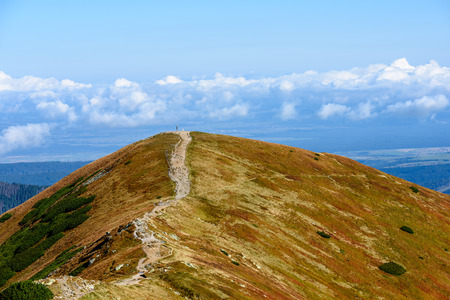 slovakian carpathian mountains in autumn. nice day. hiking trails going up Stock Photo