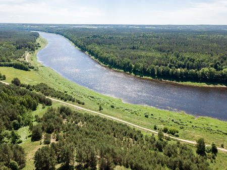 drone image. aerial view of Daugava river, largest in Latvia. warm summer day with light clouds