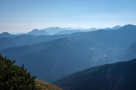 western carpathian mountain tops in  autumn covered in mist or clouds with blue cast and multidimensional lines