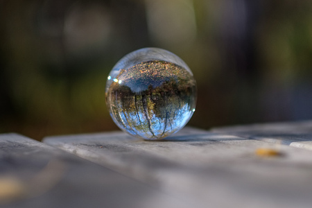 lensball in autumn reflecting nature around it. fall colors hold in human hand