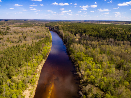 drone image. aerial view of rural area with fields and forests and water reflections in river in cloudy spring day. latvia Stok Fotoğraf