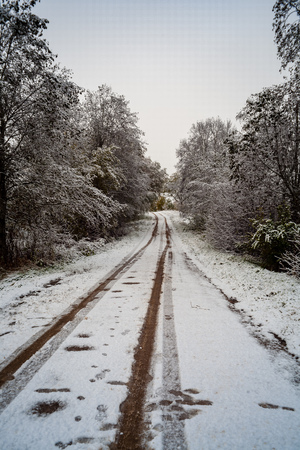 snow and ice covered road in countryside in winter with tire tracks