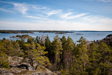 rocky coastline in Finland with few pine trees and calm water in summer