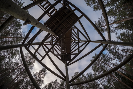 watchtower details and wooden bars, stairs and walls from below up. under view Foto de archivo