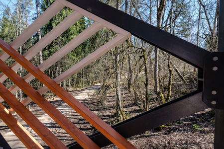 details of moder wooden and metal watchtower in forest countryside