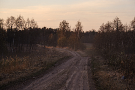 b eautiful countryside gravel road in sunset. Latvia, spring Stok Fotoğraf