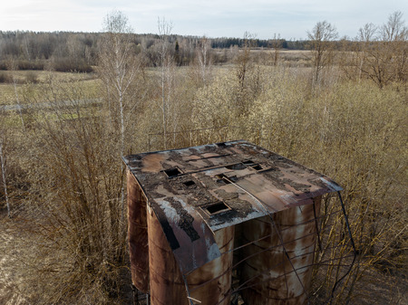 aerial view of abandoned rural housing buildings in spring 版權商用圖片
