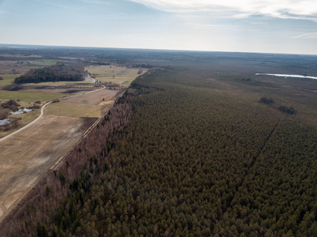 aerial view of rural area with forests and lakes in early spring Stockfoto