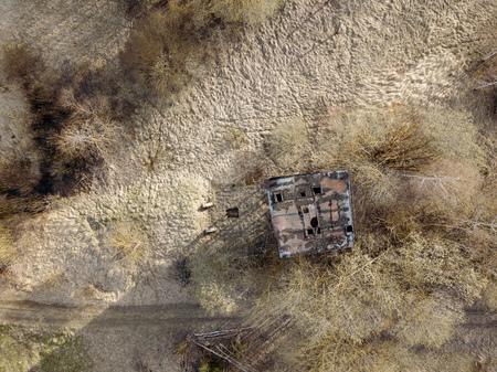 aerial view of abandoned rural housing buildings in spring Banco de Imagens