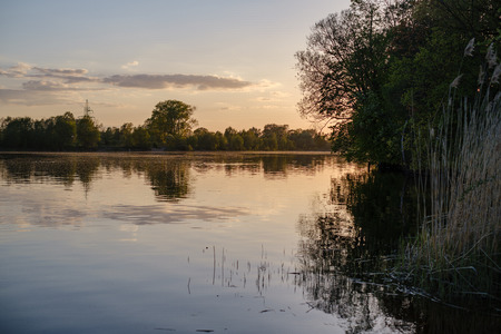 beautiful sunset by the river under tree leaves and branches. calm water, blue sky with clouds and reflections in water. ducks swimming in evening
