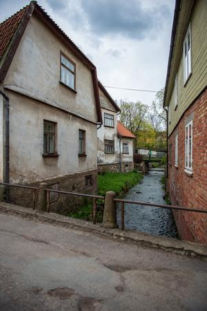 building architecture details of old city center of Kuldiga, Latvia. summer time