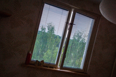 view through the window with details Stock Photo