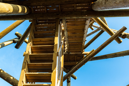 wooden fire watchtower construction details. forest tower