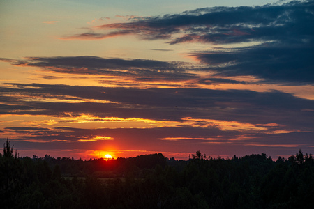 dramatic red sunset colors in the sky above trees and fields. summer sunset in latvia