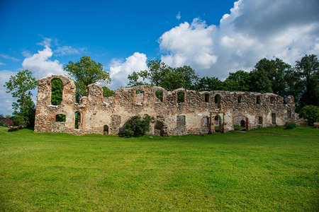 stone brick ruins of old building. fortress walls in green countryside 報道画像