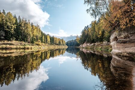 beautiful river of Gauja near rock of Sietiniezis in Latvia. in autumn with colored tree leaves in golden yellow maple trees in foreground