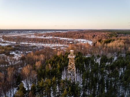 aerial view of wooden watchtower in forest. drone image Zdjęcie Seryjne