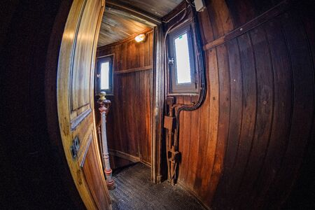 interior of old red wood lighthouse with fisheye lens Stock fotó