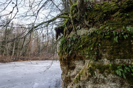 sandstone cliffs in Latvia near river Gauja with ice on water. winter landscape