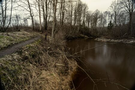 Scenic view of forest river Mergupe in Latvia in winter with no snow. slow shutter speed