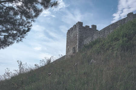 ruins of old abandoned castle on the cliff with bricks and stone. architecture details in Slovakia - vintage retro look