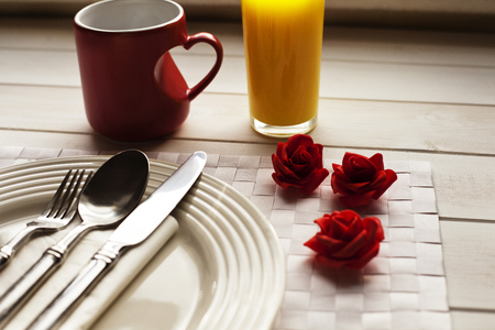 Place set for breakfast at Valentines Day Banco de Imagens