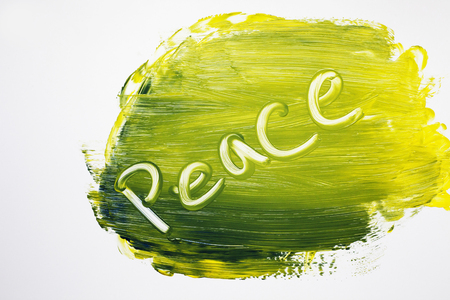 In swirling bold colors peace sign is etched Stock Photo
