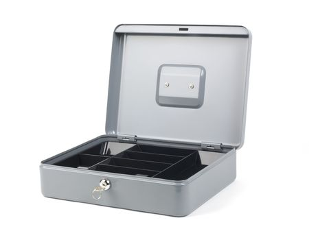 Grey cash box with lid open, cash tray visible and empty Stock fotó