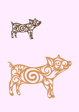 Little pig ornate art vector picture