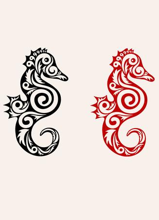caballo de mar: Caballo de mar imagen de arte adornado Vectores
