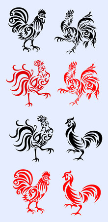 Rooster set tribal art decoration Vector