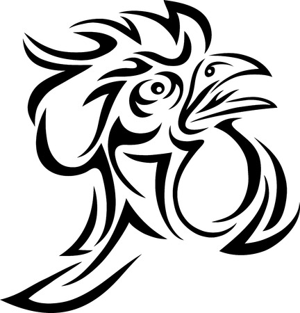 Rooster head tribal art design