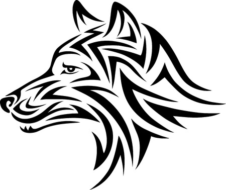 Dog head tribal art design Vector
